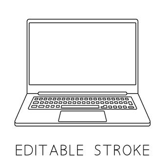 ラップトップアイコン薄型フレームノートブックまたはウルトラブックラップトップコンピューターのシンプルなフラットシンボル