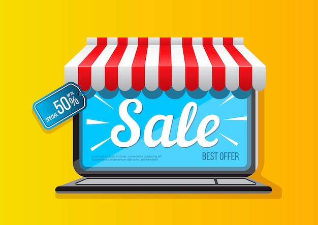 Laptop icon with sale promotion