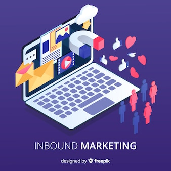Laptop inbound marketing background
