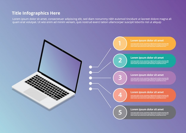 Laptop infographics with isometric style and 5 point bullets