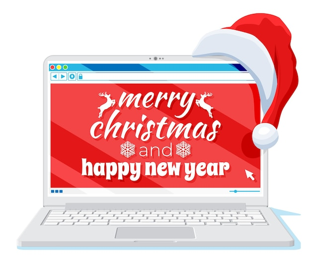 Laptop is in santa claus hat isolated. christmas notebook covered with santa cap. happy new year decoration. merry christmas holiday. new year and xmas celebration. vector illustration flat style