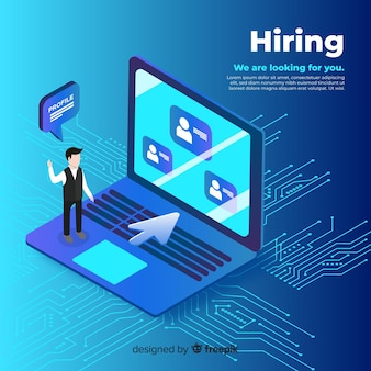 Laptop isometric hiring illustration
