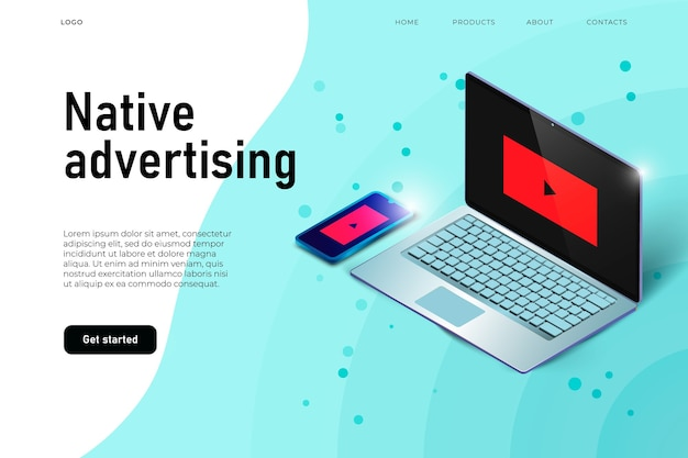Laptop and isometric smartphone, landing page concept