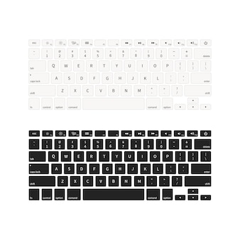 Laptop keyboards in different colours isolated on white