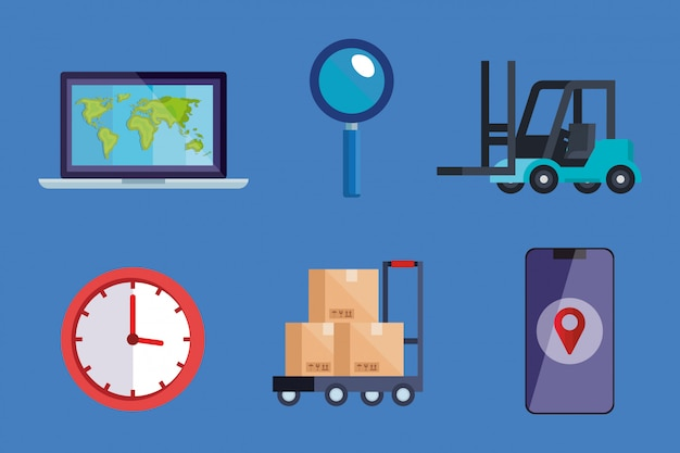 Laptop lupe forklift clock boxes and smartphone vector design