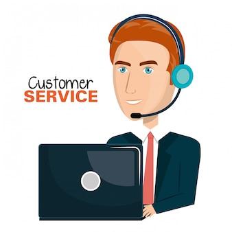 Laptop man customer service call center design