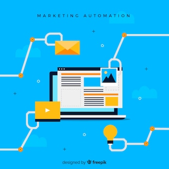 Laptop marketing automation background
