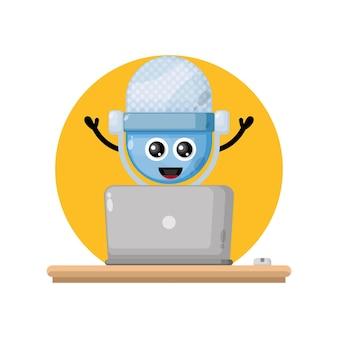 Laptop mic cute character mascot
