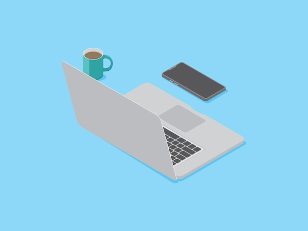 Laptop mobile phone and mug coffe on blue sky color background