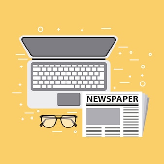 Laptop newspaper and glasses vector illustration