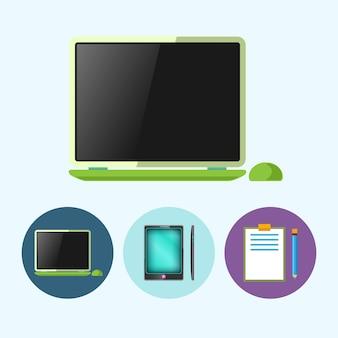 ラップトップ、ノートブック。 3つの丸いカラフルなアイコン、ラップトップ、マウス付きノートブック、電話、ガジェット、鉛筆でクリップボード、ベクトル図を設定します。