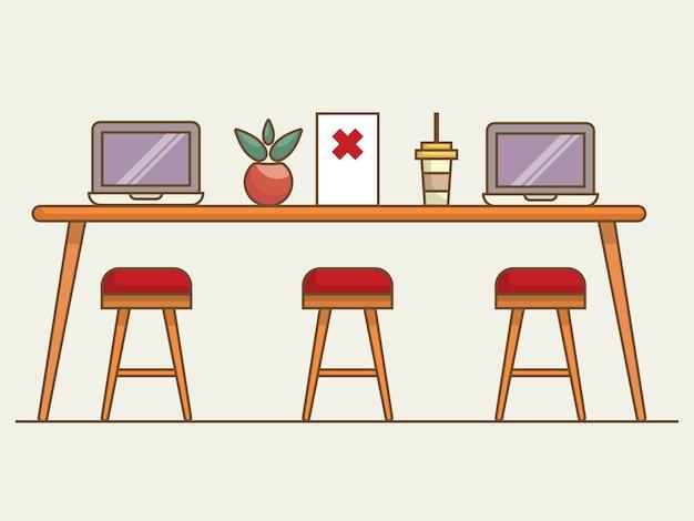 社会的な距離の新しい通常の概念図と作業スペースでテーブルの上のノートパソコン