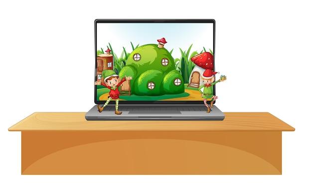 画面のデスクトップに魔法の土地があるテーブルの上のノートパソコン