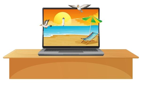 画面上の夏のビーチとテーブルの上のラップトップ