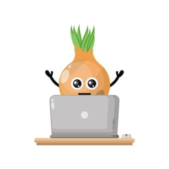 Laptop onion cute character mascot