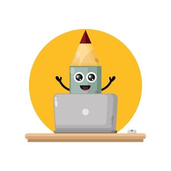 Laptop pencil cute character mascot