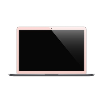Laptop pink color with black screen isolated