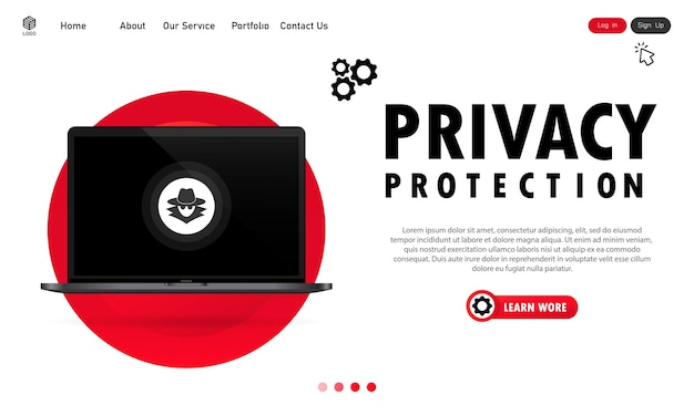 ラップトップのプライバシー保護バナー。安全な作業の概念。安全なシステム。孤立した白い背景の上のベクトル。 eps10。