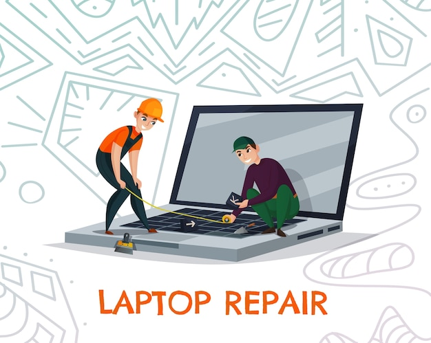 Laptop repair with electronics and technology work symbols