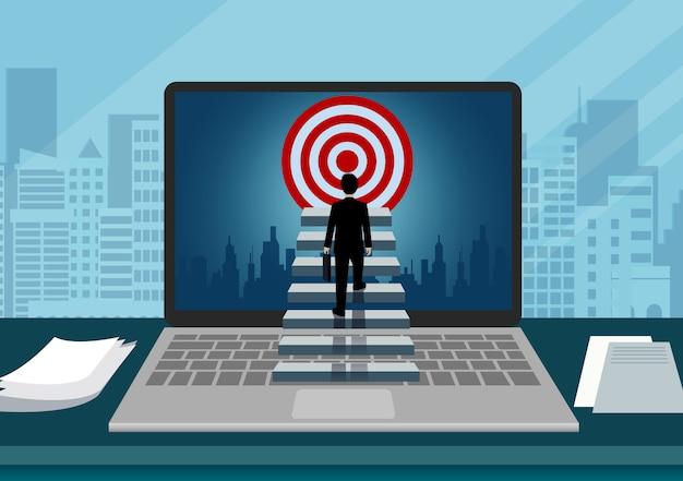 Компьютер с видом на экран ноутбука бизнесмена поднимается по лестнице к цели