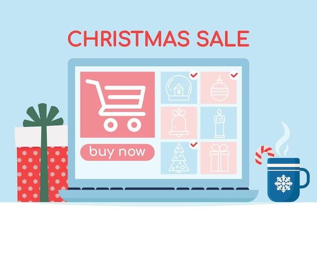 製品のアイコン画像とノートパソコンの画面クリスマスセールバナーショッピングオンラインベクトル