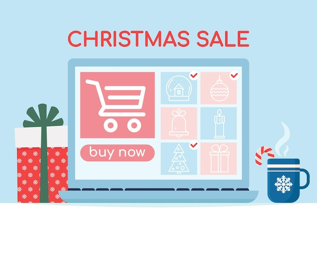 Laptop screen with icons  image of the product christmas sale banner shopping online vector