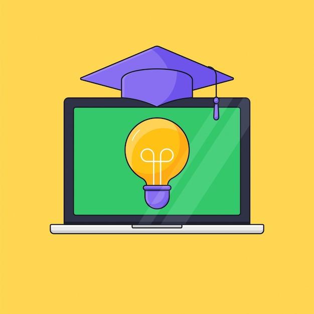 Экран ноутбука с лампочкой и градуированной тогой сверху для вебинара онлайн-курс дистанционное обучение иллюстрация