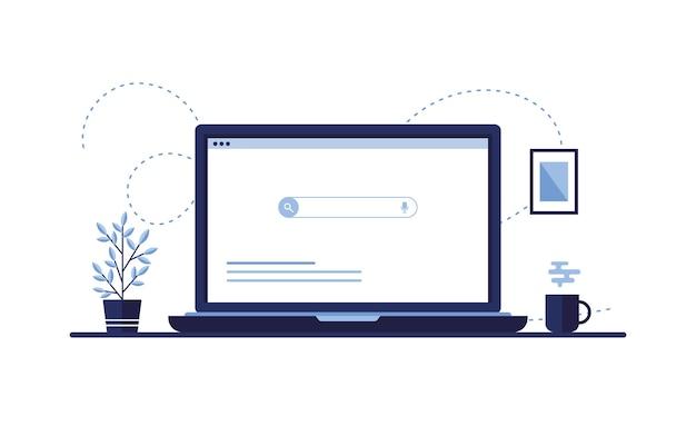 ブラウザの検索ページ、オフィスや自宅の職場のノートパソコンの画面