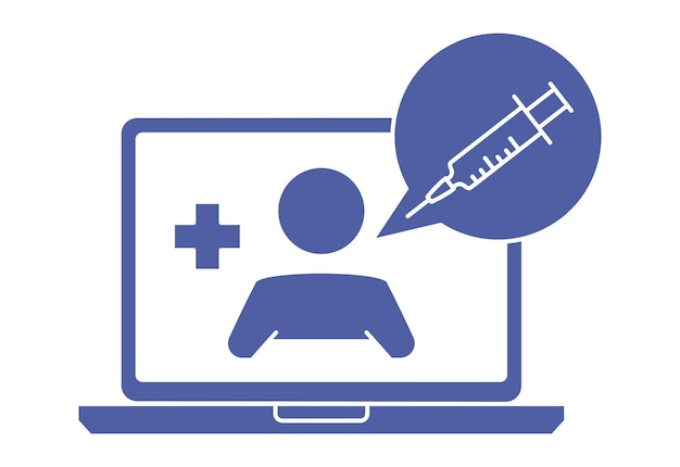 チャットでセラピストとノートパソコンの画面。医師とのオンライン相談。医者に聞いてください。オンライン医療アドバイスまたは相談サービス、遠隔医療。グリフアイコン。ベクター