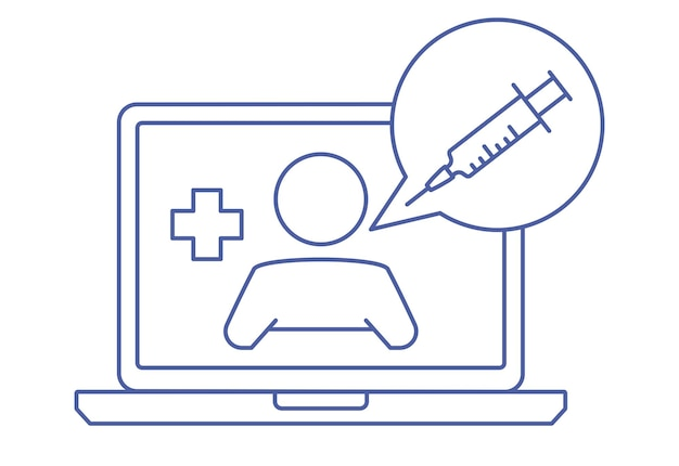 チャットでセラピストとノートパソコンの画面。医師とのオンライン相談。医者に聞いてください。オンライン医療アドバイスまたは相談サービス、遠隔医療。線形の概念。編集可能なストローク