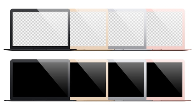 Набор ноутбуков, изолированные на белом фоне