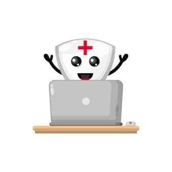 Laptop shield cute character mascot