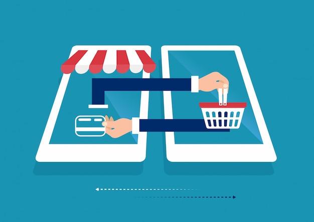 Laptop smart phone online shopping concept