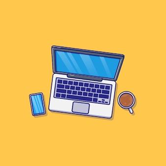 ノートパソコンのスマートフォンと一杯のコーヒーのベクトルイラストデザイン