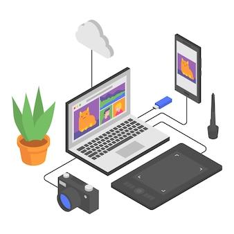 아이소메트릭에서 노트북 스마트폰 그래픽 태블릿 카메라 플래시 드라이브 구름 꽃 구성