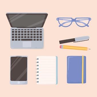 Ноутбук смартфон блокнот карандаш и очки рабочее пространство офис вид сверху дизайн