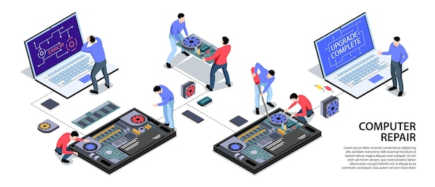 Laptop and smartphone repair support illustration