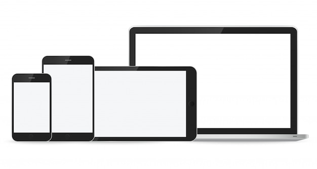 Laptop, smartphone and tablet mockup on white