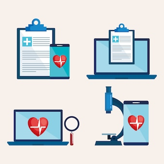 Laptop and smartphone with telemedicine icons