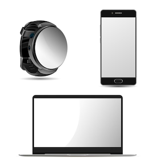 Laptop, smartwatch and cell phone design