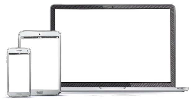 Laptop, tablet pc, mobile phone hand drawn illustration.