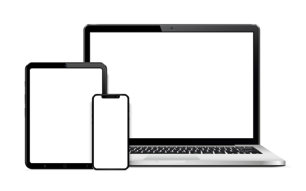 Laptop tablet and smart phone isolated on white with empty screen