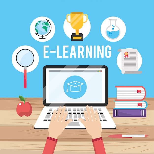 Laptop technology education with books knowledge