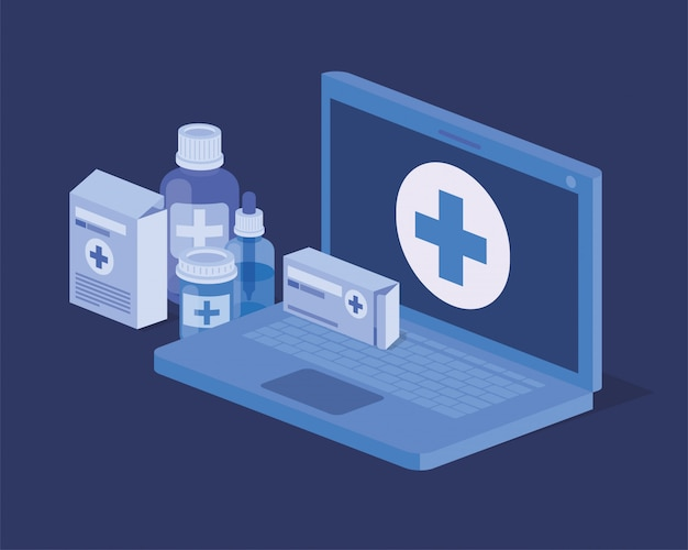 Laptop telemedicine service icon