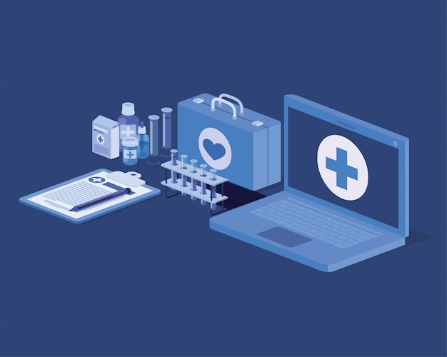 医療用キットと薬を使ったラップトップ遠隔医療サービス
