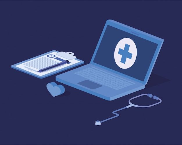 Laptop telemedicine service with stethoscope