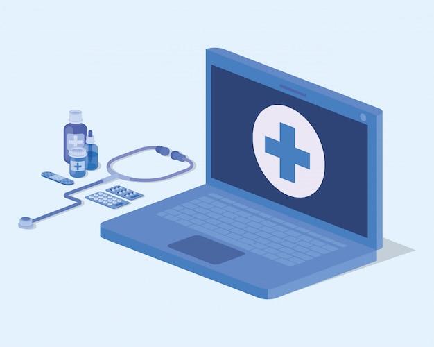 聴診器を使用したラップトップ遠隔医療サービス