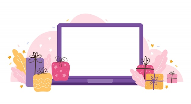 Laptop template with an empty screen on a holiday background. blank device mock up with gifts, stars, and streamers.  flat illustration concepts for website and mobile website development.