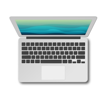 Laptop top view with shadow isolated on white background. modern laptop as seen from above.
