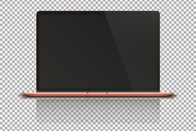 Laptop on transparent .